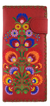 Load image into Gallery viewer, Polaska Flowers Long Wallet Red