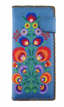Load image into Gallery viewer, Polaska Flowers Long Wallet Blue