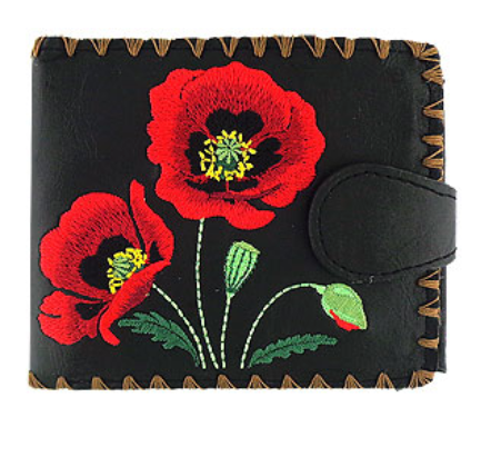 Poppy Embroidered Short Wallet Black