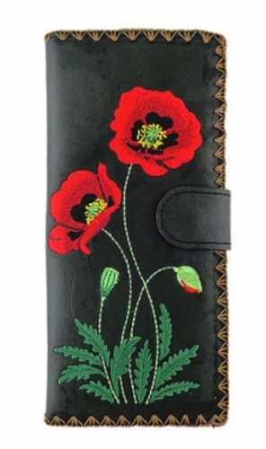 Poppy Embroidered Long Wallet Black