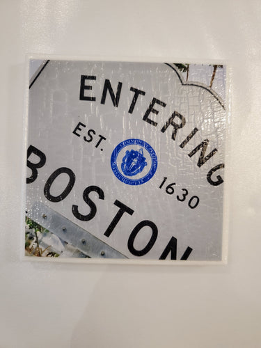 Boston Sign Photo Coaster