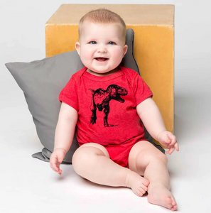T-Rex Baby One Piece - Red - 6/12mo