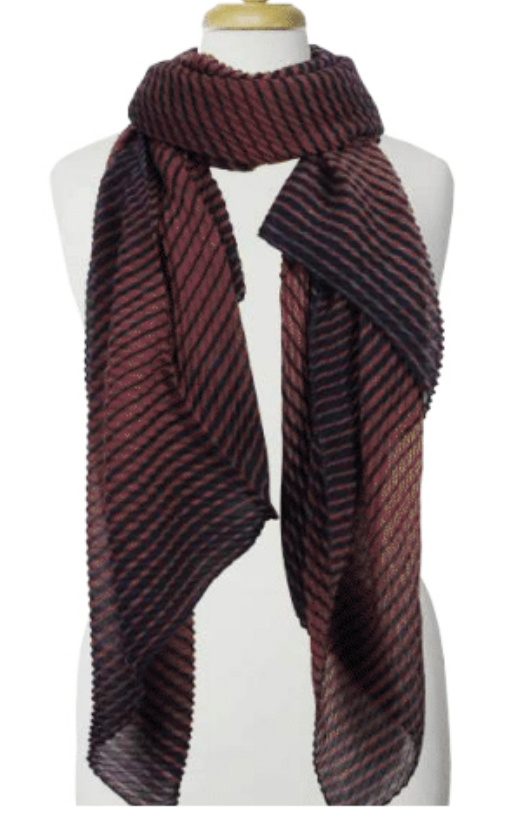 Coffee Blue Rippled Stripe Poly Scarf