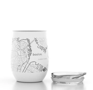 Boston White Insulated Wine Glass