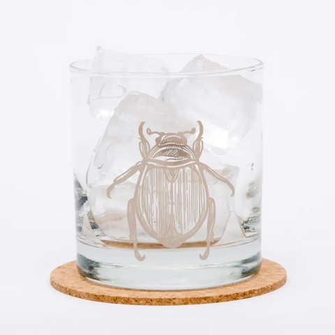 Scarab Beetle Rocks Glass