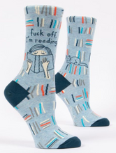 Load image into Gallery viewer, Fuck Off I'm Reading Crew Socks
