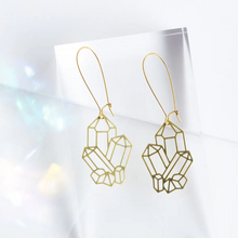 Load image into Gallery viewer, Crystal Cluster Earrings - Brass