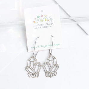 Crystal Cluster Earrings - Silver