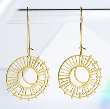 Load image into Gallery viewer, Sun and Moon Earrings - Brass
