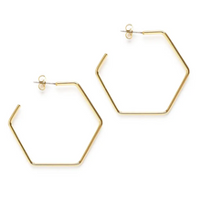 "Load image into Gallery viewer, Hexagon Hoop Stud 1.5"" Gold"