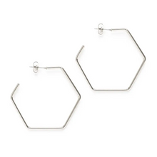 "Load image into Gallery viewer, Hexagon Hoop 1.5"" Silver"