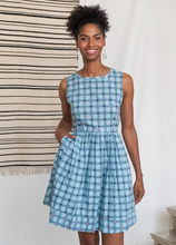 Load image into Gallery viewer, Tic Tac Toe Dress Blue Quilt