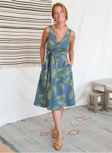 Ana Wrap Dress - Grey Palms