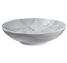 Load image into Gallery viewer, White Marble Melamine 12in Serving Bowl