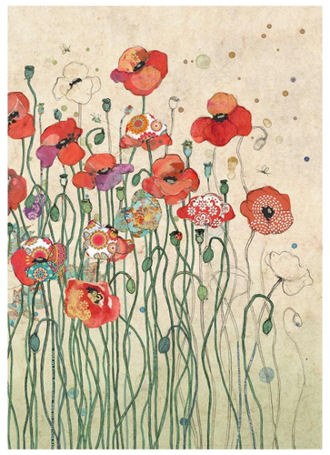 Red Poppies Birthday Card