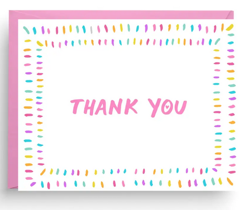 Rainbow Confetti Thank You Card