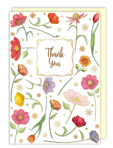 Red Flowers Thank You Card