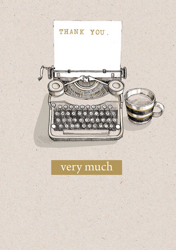 Typewriter Gold Foil Thank You Card