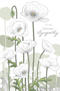 White Poppies Sympathy Card