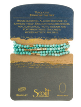 Load image into Gallery viewer, Scout Wrap Stone Bracelets Turquoise Gol