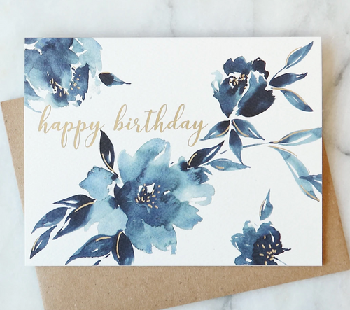 Indigo Floral Birthday Card