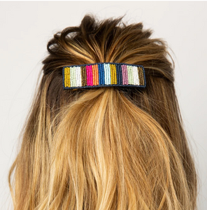 Beaded Striped Hair Clip Multi Stripe