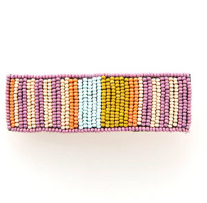Beaded Striped Hair Clip Lilac & Coral
