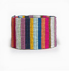 Beaded Stretch Bracelet Multi Stripe