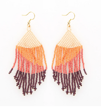 "Load image into Gallery viewer, Ombre Beaded Fringe Earring - 4"" Pink &"