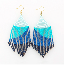 "Load image into Gallery viewer, Ombre Beaded Fringe Earring - 4"" Blue"