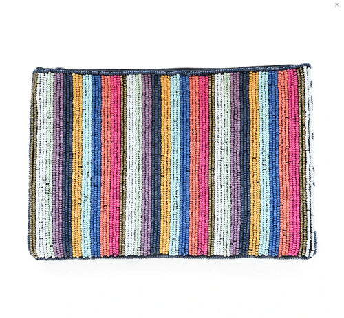 Multicolored Striped Beaded Clutch-9