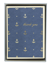 Load image into Gallery viewer, Gold Anchors Navy Thank You Cards