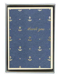 Gold Anchors Navy Thank You Cards