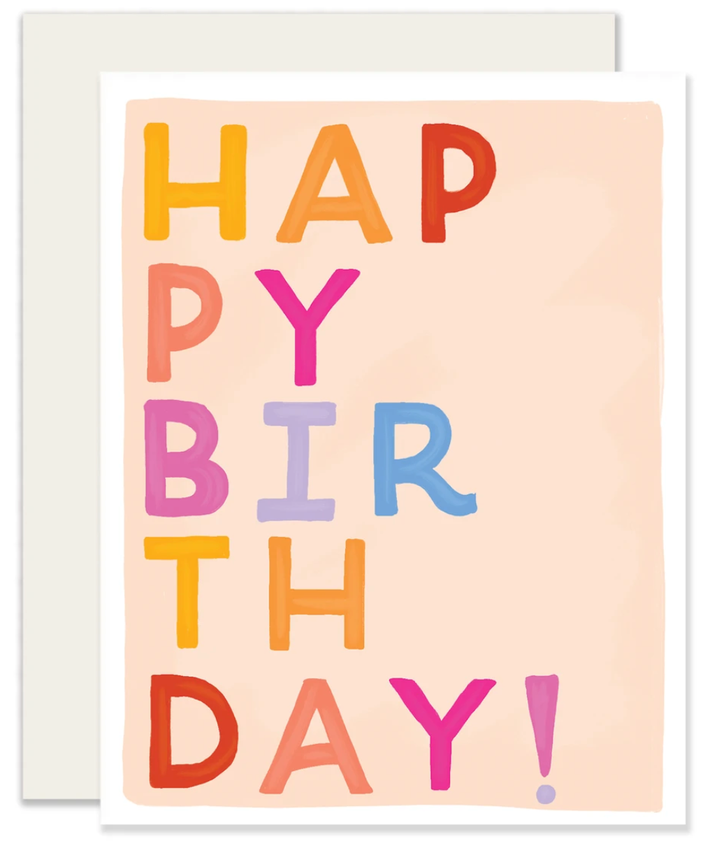 Block Letters Birthday Card