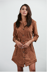 Brown and Black Polka Dot Shirt Dress La