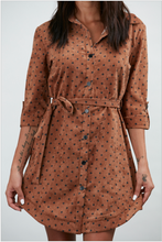 Load image into Gallery viewer, Brown and Black Polka Dot Shirt Dress