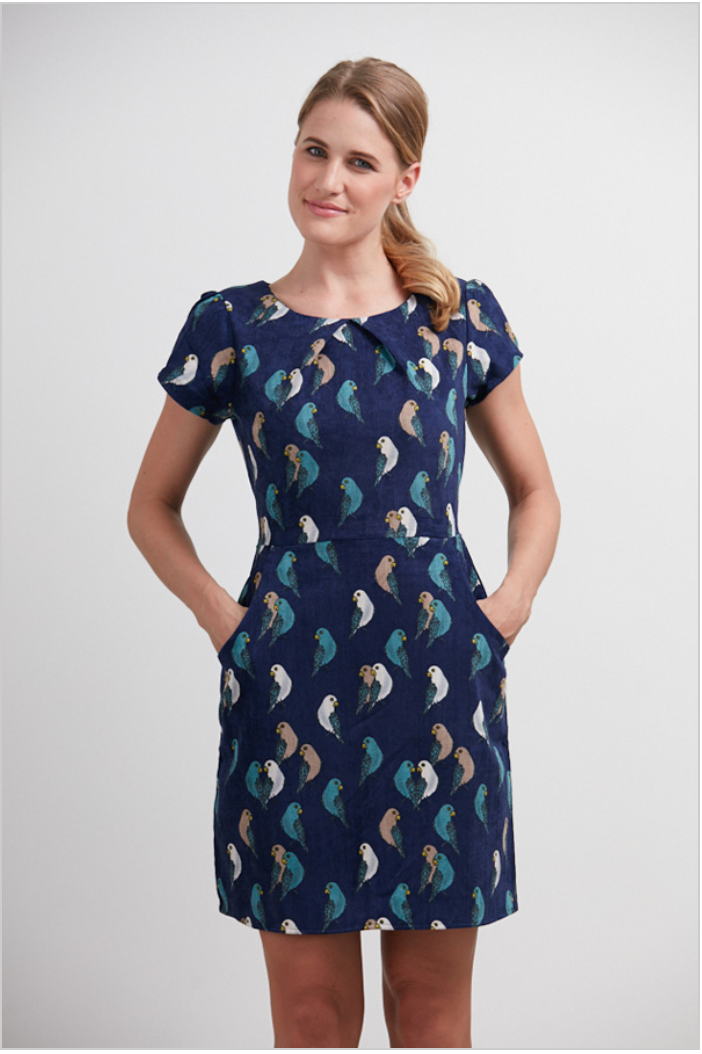Blue Bird Print Corduroy Dress Small