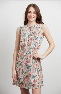 Colorful Abstract Circle Print Dress XXL