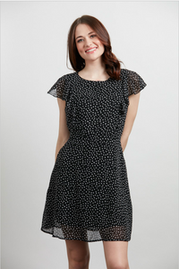 Black White Confetti Cap Sleeve Dress Sm