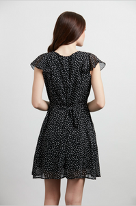 Black White Confetti Cap Sleeve Dress
