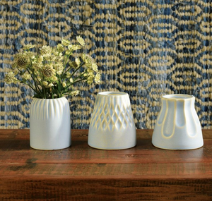 Margot Vase Stripe Matte Blue