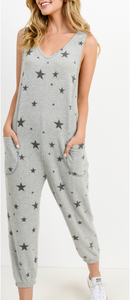 Gray Star Print Jumpsuit