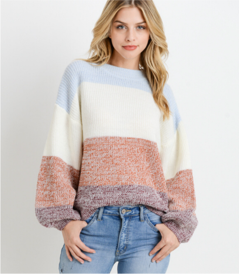 Blue and Brown Color Block Knit Sweater