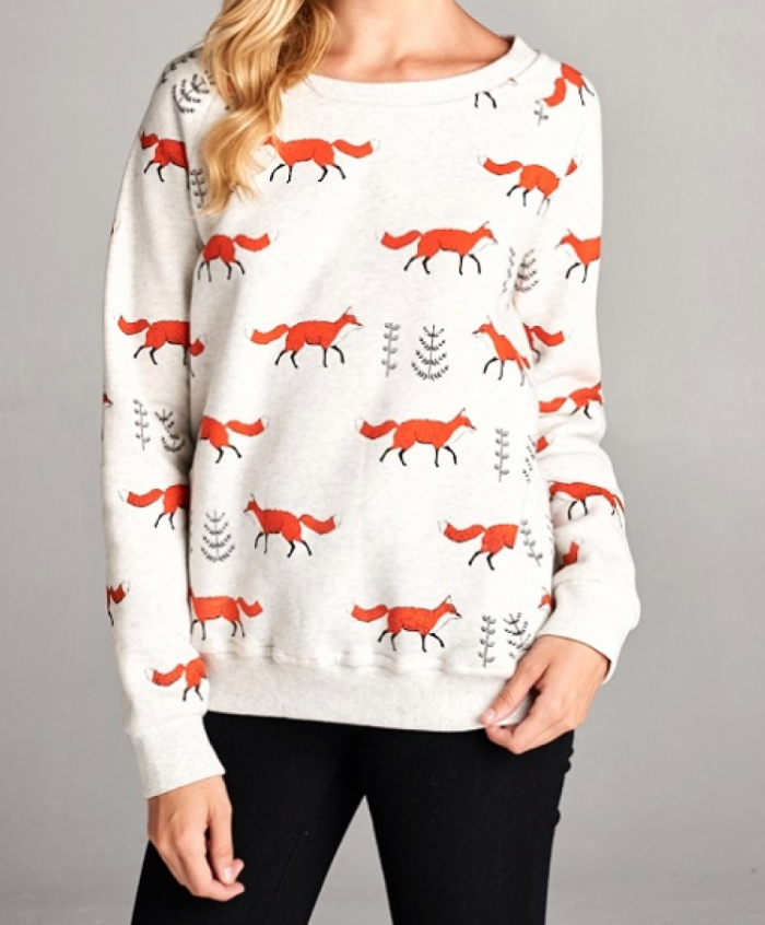 All Over Fox Grey Sweatshirt - Plus Size