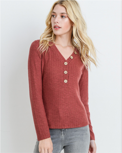 Rust Colored V Neck Long Sleeve Top