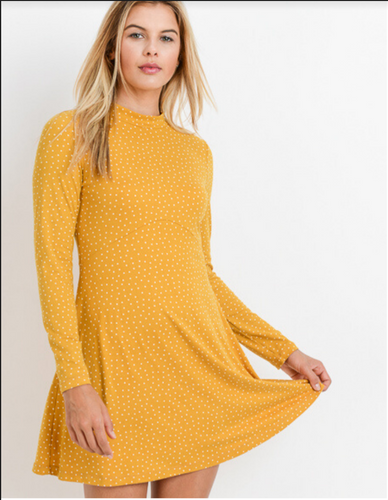 Long Sleeve Yellow Polka Dot Dress