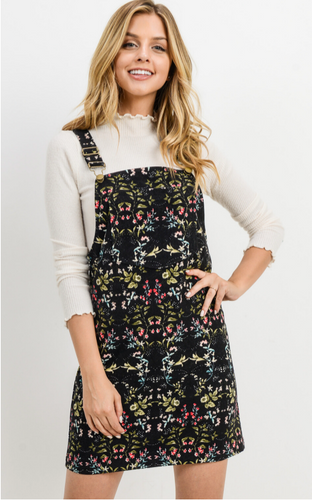 Floral and Black Cordoruy Jumper Dress