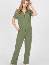 Load image into Gallery viewer, Olive Green Jumpsuit w/Zipper Large
