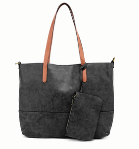 Brushed 2 in 1 Tote Black