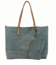 Load image into Gallery viewer, Brushed 2 in 1 Tote Teal